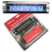Termometras - laikrodis su 12V įtampos indikatoriumi